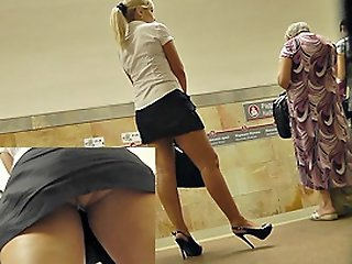 Secretary upskirt in subway