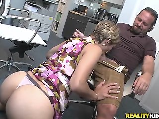 Hot secretary is sucking a..